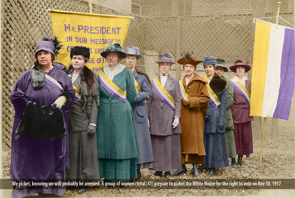 Women prepare to picket the White House for the right to vote on Nov 10, 1917. Colorized image of National Woman's Party