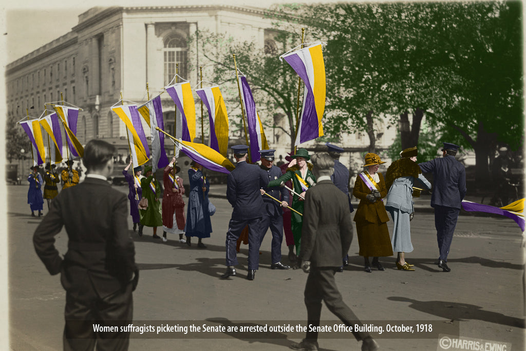 Women suffragists picketing the Senate are arrested outside the Senate Office Building. October, 1918