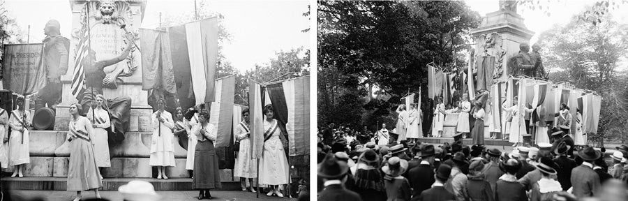 Two views of the demonstration at the Lafayette statue in 1918.
