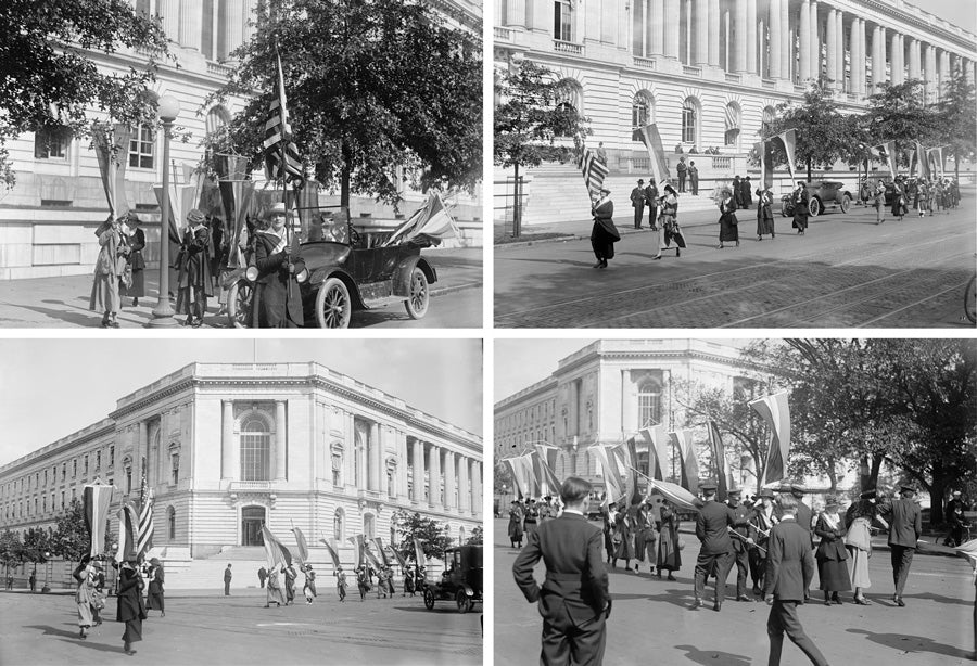 Photo series of the National Woman's Party picket of the Senate in front of the Senate Office Building. October 1918.