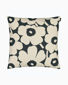 Marimekko Cushion Cover Pieni Unikko Cotton and Dark Green