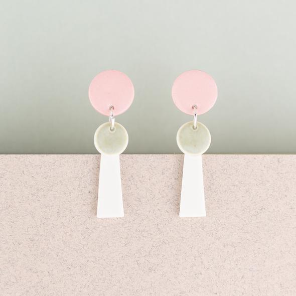 Erin Lightfoot Earings Small Porcelain Tassell Pink