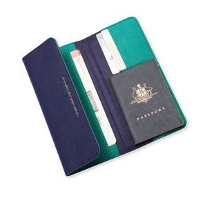 Alice Pleasance Leather Travel Wallet Navy and Emerald - stilecollettivo