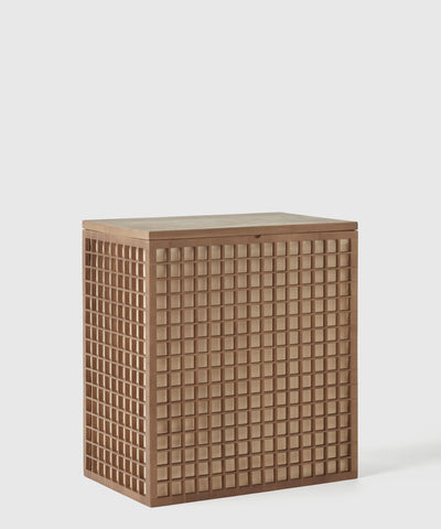 The Container Store x KonMari exclusive Shoji Collection designed by Marie Kondo. Bamboo clothes hamper with lid and liner inspired by Japanese design.
