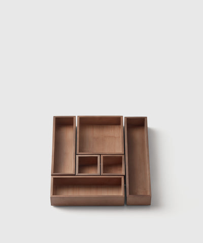 Set of 6 hikidashi box bamboo drawer organizer by Marie Kondo.