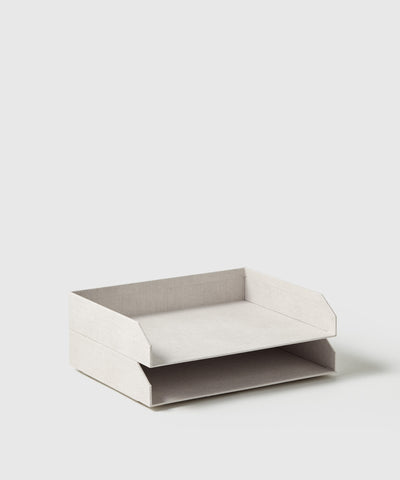 2-level stackable paper desk tray. Part of the Joyful Collection for The Container Store x KonMari created by Marie Kondo.