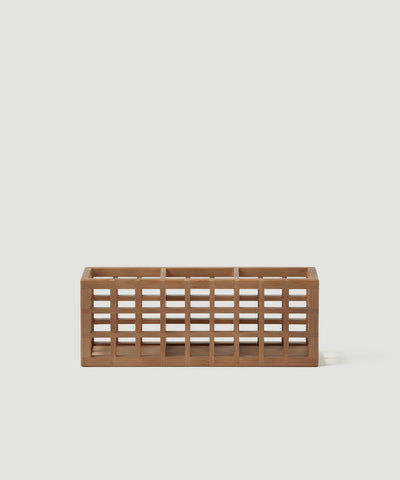 The Container Store x KonMari exclusive Shoji Collection designed by Marie Kondo. 3 section desk, office or drawer organizer made of sustainable bamboo.