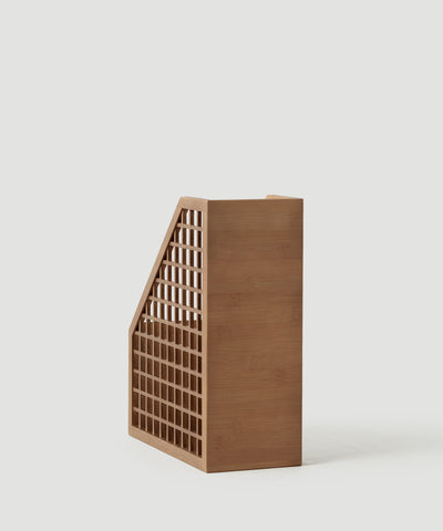 The Container Store x KonMari Shoji Collection exclusively designed by Marie Kondo. Polished bamboo vertical file, paper, magazine organizer.