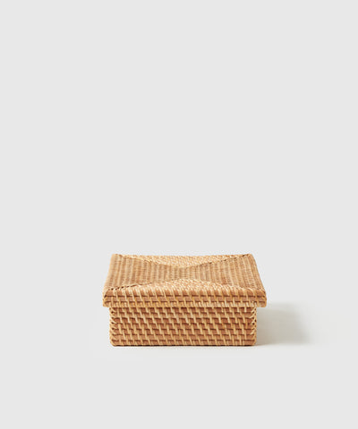 Rattan letter sized storage box with lid. Part of The Container Store x KonMari Ori Woven Collection exclusively designed by Marie Kondo.