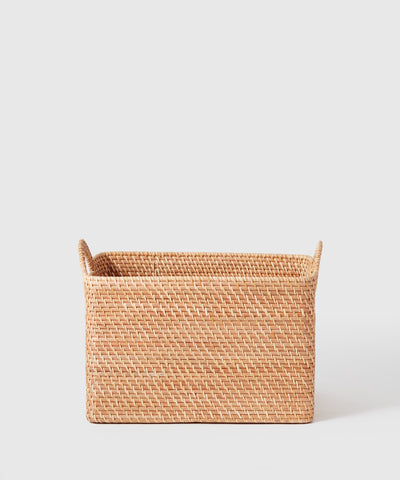 Large rattan storage basket and bin thoughtfully designed by Marie Kondo for The Container Store x KonMari.