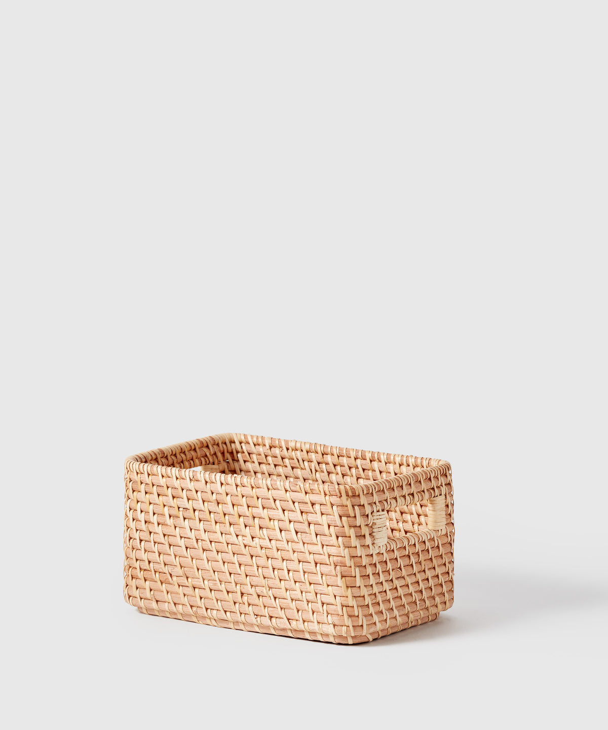 Small Woven Rattan Bin With Handles