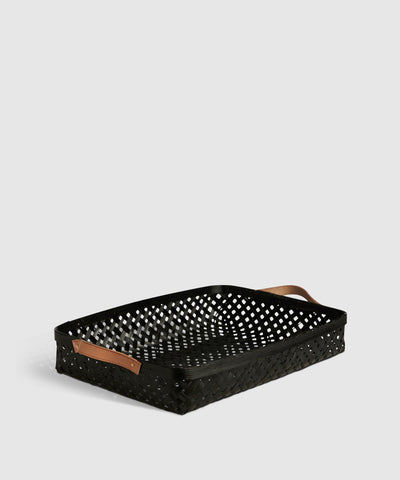 Bamboo & Leather Organizing Tray / Basket in Black