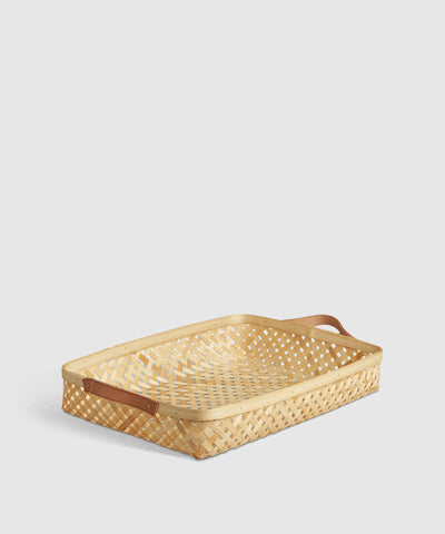 Bamboo & Leather Organizing Tray / Basket in Natural