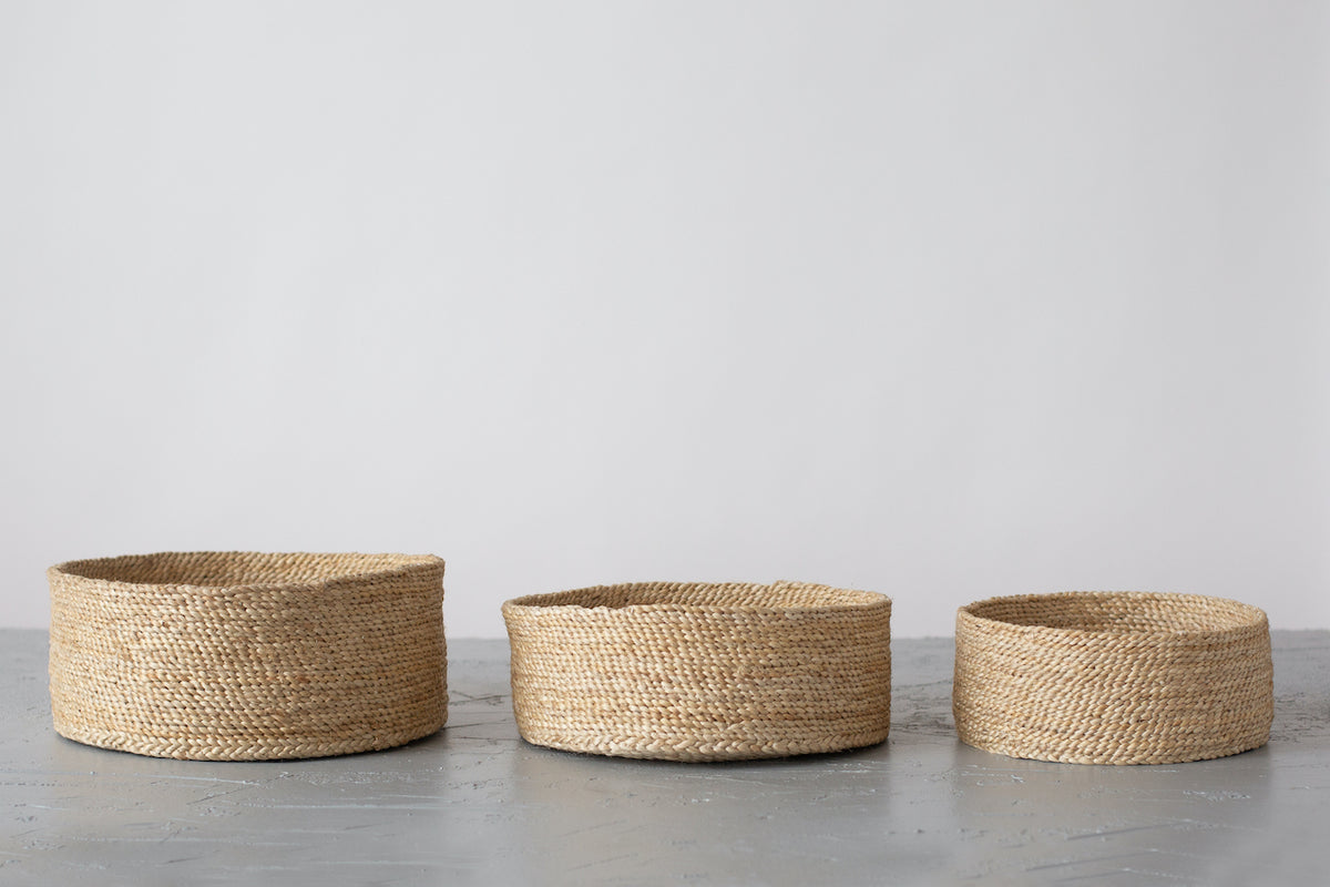 Large Natural Jute Baskets – Set of 3