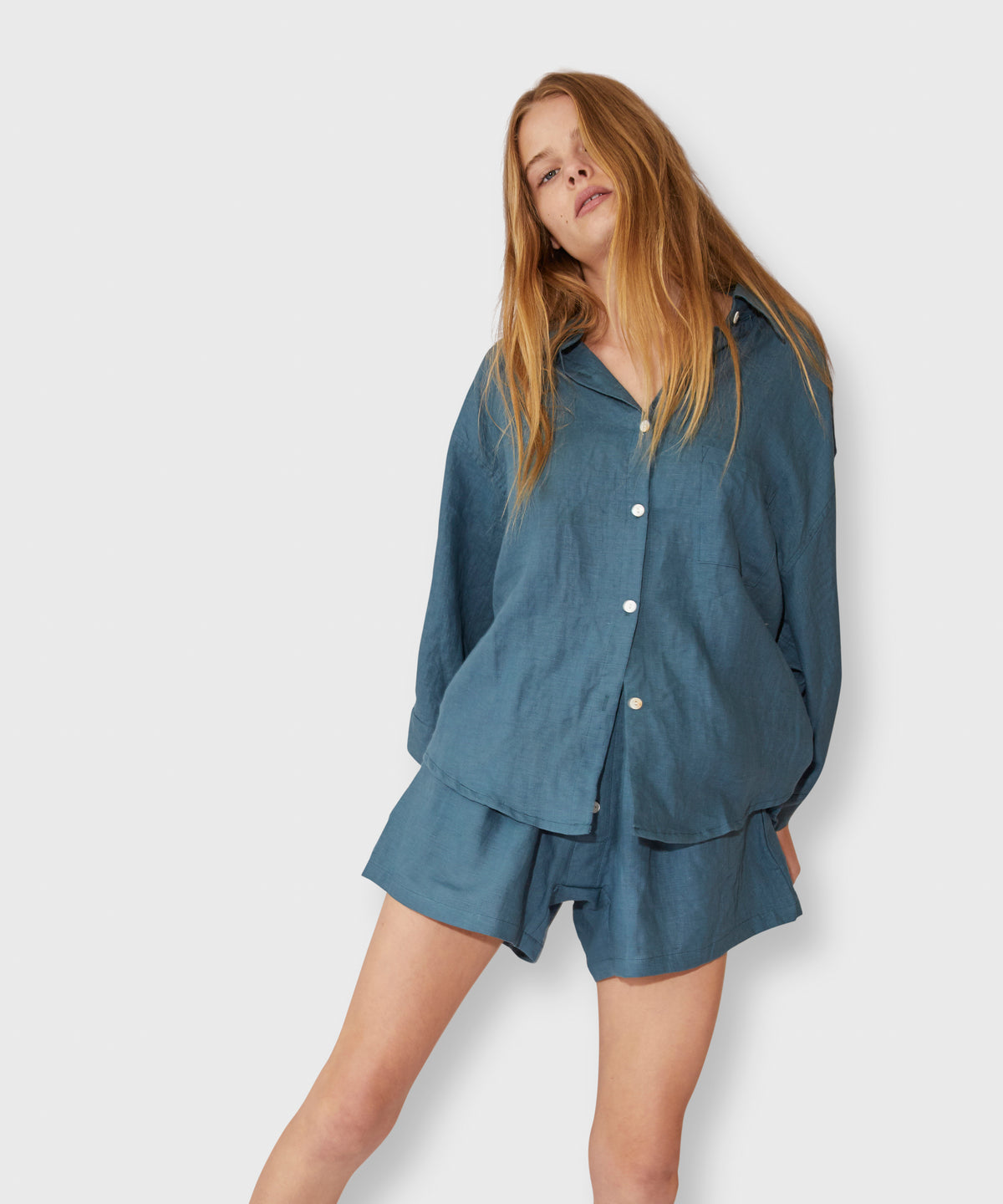 Stonewashed Linen Pajama Set With Shorts – Steel Blue