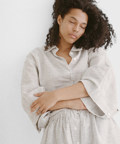 Stonewashed Pajama Set With Shorts - Natural Linen