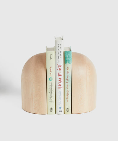 Hand-Turned Arched Maple Bookends