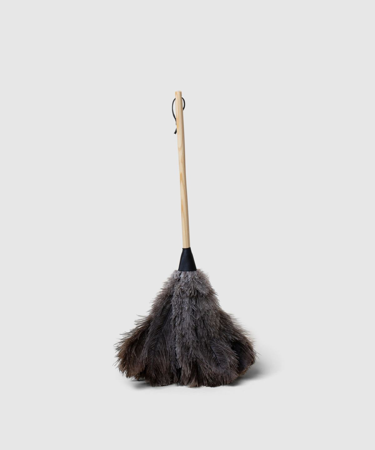Blond Wood and Leather Feather Duster