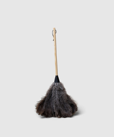 Black Feather Duster with leather ferrule