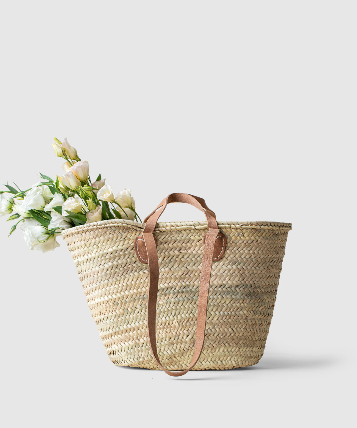 Palm Leaf & Leather Generous French Market Tote