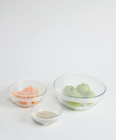 Stretchable, Reusable Low Waste Lid Set