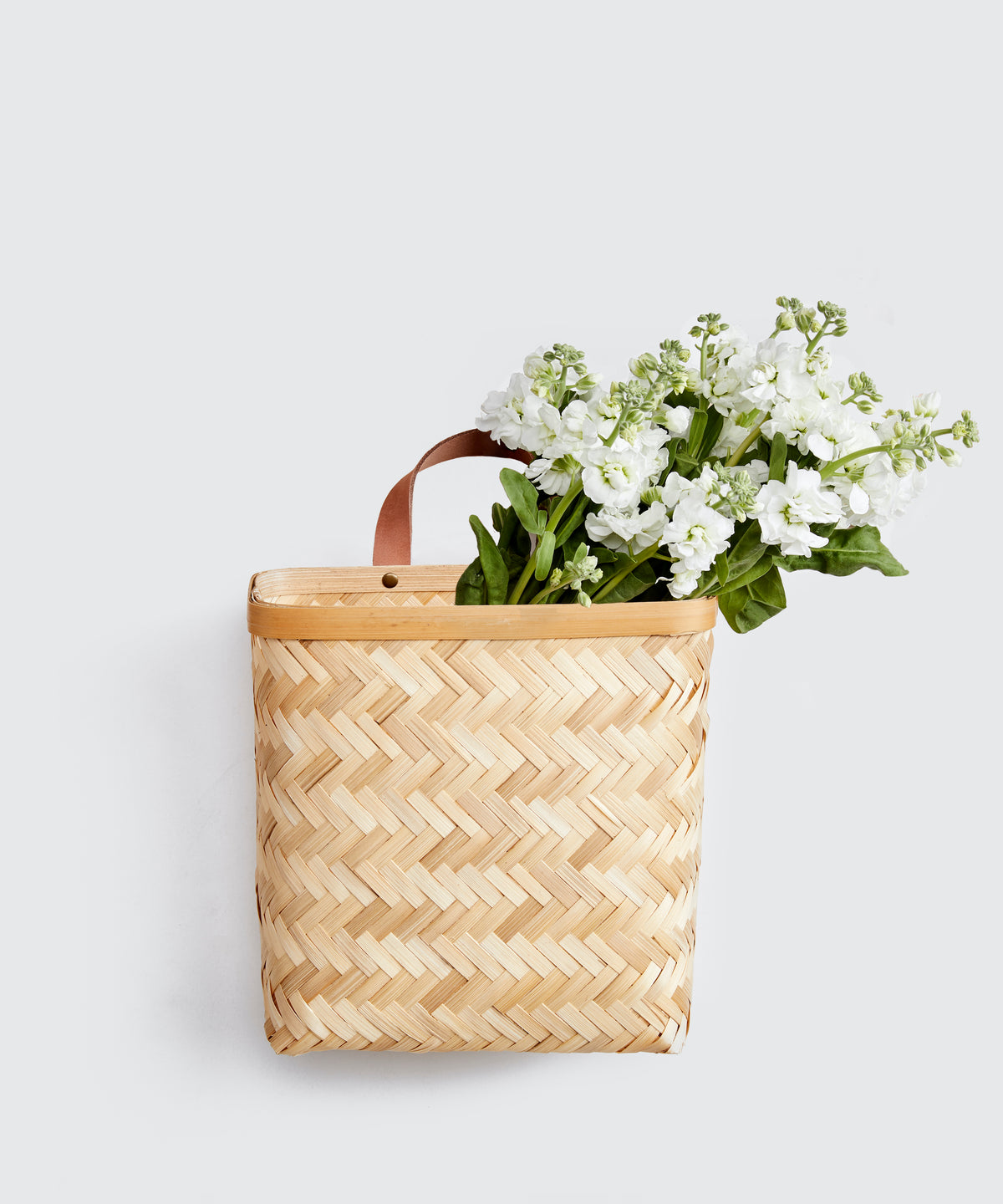 Leather & Bamboo Wall Basket