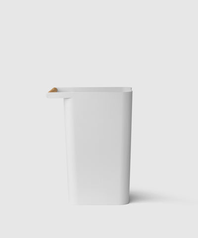 stylish recycling bin with wooden handle