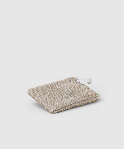 Exfoliating body scrub mitt with natural sasawashi fabric, made in Japan