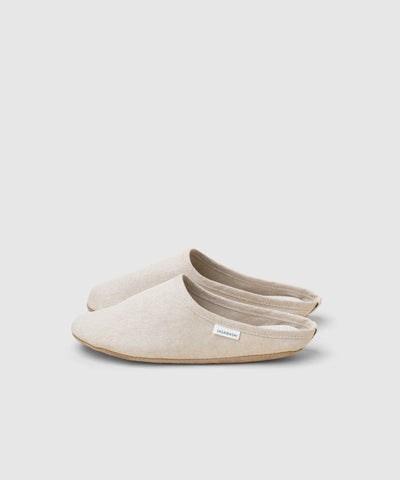 Japanese house slippers for men and women in beige linen at the Shop at KonMari..