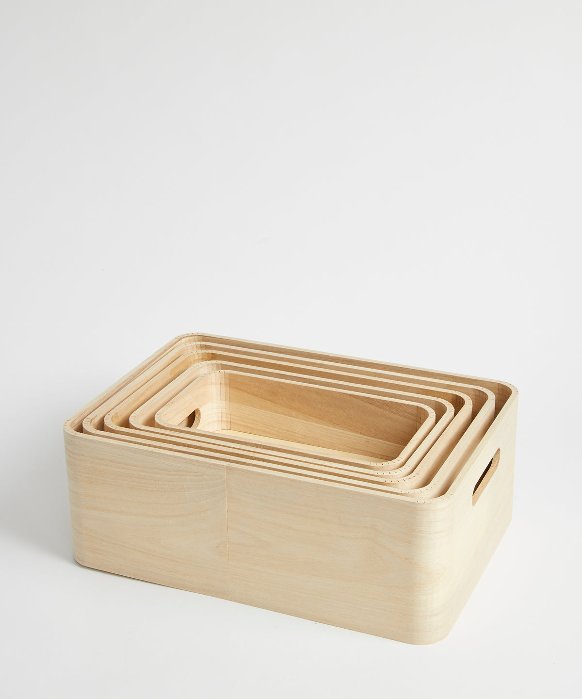 Set of Five Wooden Stacking Storage Boxes