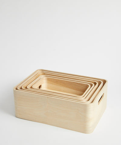 Five stackable boxes made from renewable paulownia wood, by Rig-Tig.