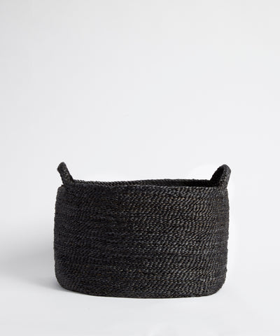 Medium charcoal hand-woven jute basket.