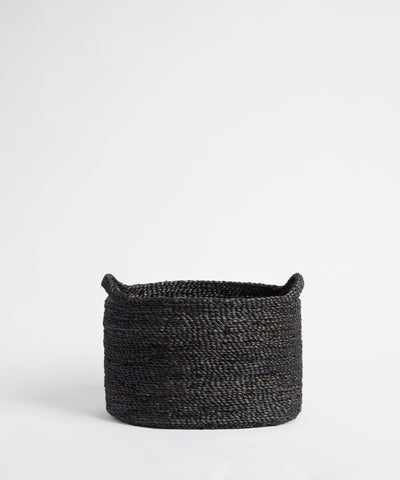 Small charcoal woven jute basket.