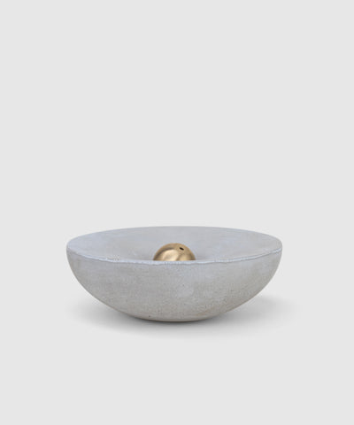 Concrete candle holder and brass incense holder set