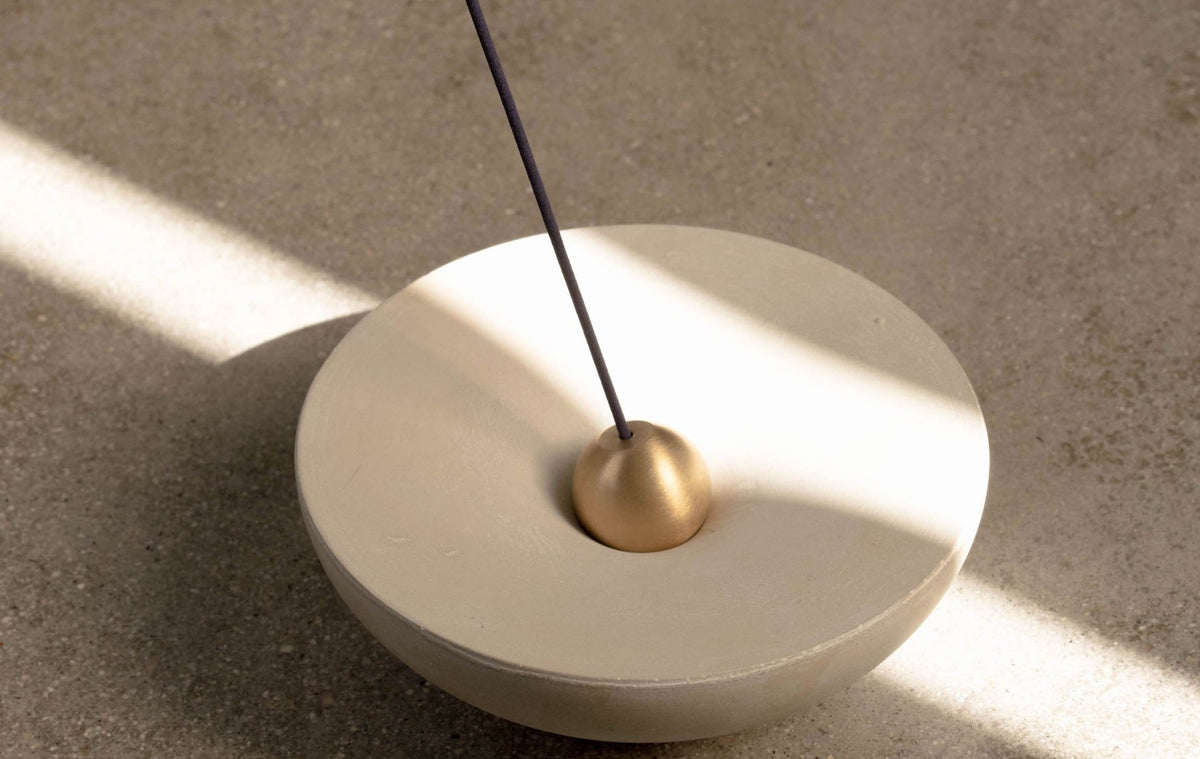 Concrete & Brass Vortex Candle & Incense Holder