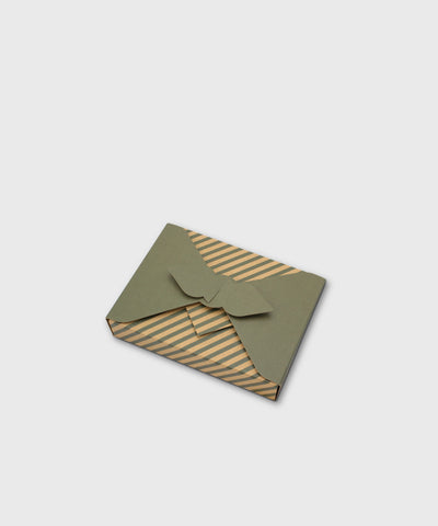 Reusable Japanese Furoshiki Gift Box – Green Stripes