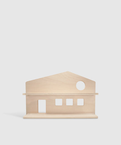 Wooden House-Shaped Shelf & Treasure Organizer