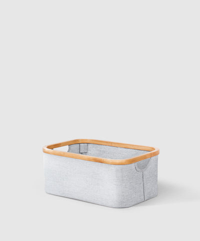 Collapsible Bamboo & Cotton Rectangular Storage Basket