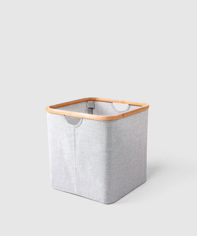 Collapsible Bamboo & Cotton Square Storage Basket
