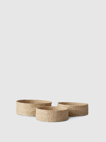Trio of jute baskets on KonMari by Marie Kondo