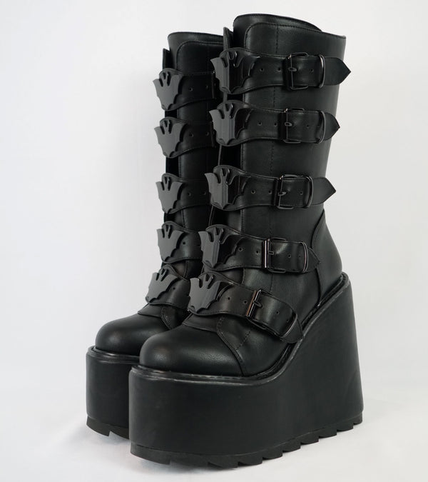 NEW! Bat Buckle Platform Dune Boots -Y.R.U.