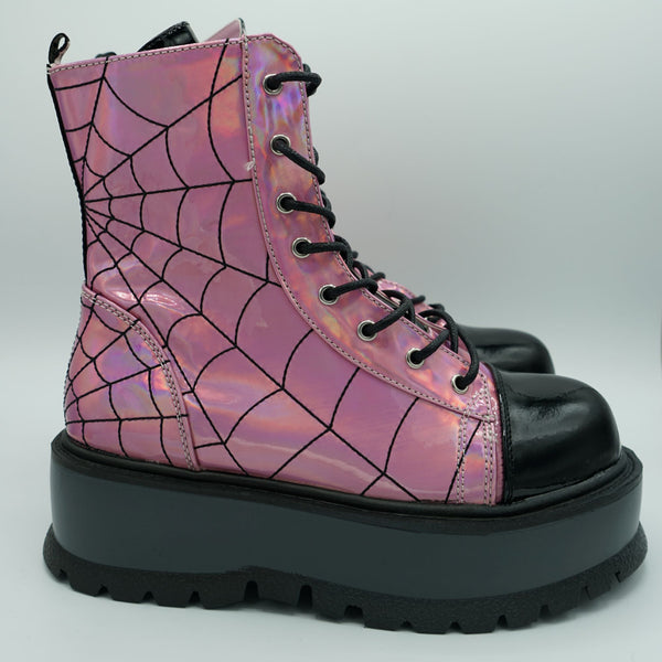 Lullaby Stomper Boot (Pink Iridescent)  DEMONIA