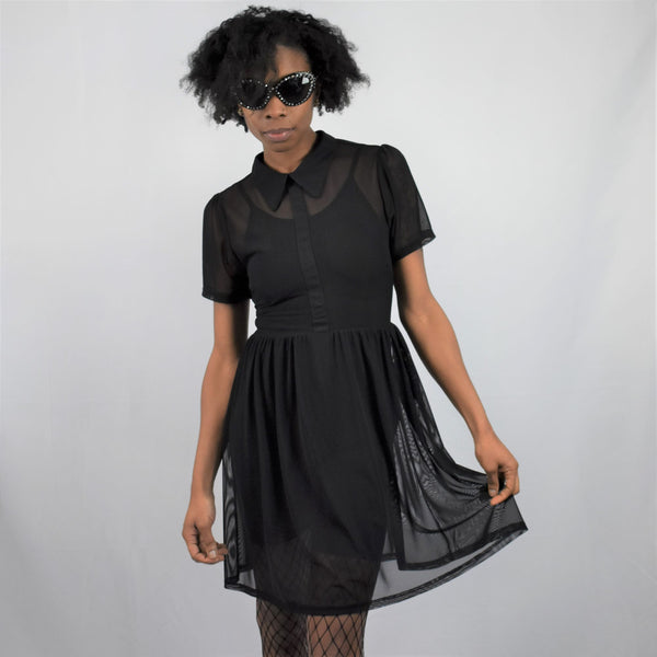 Courtney Mesh Babydoll Dress (Black) FOXBLOOD