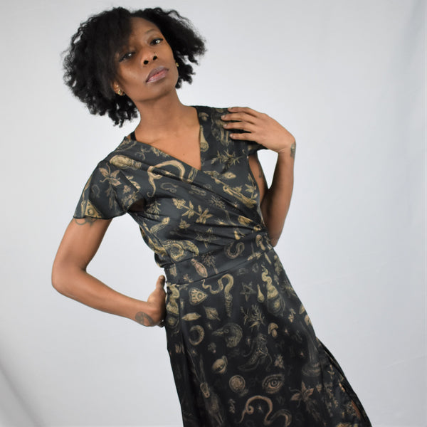 ONE MEDIUM LEFT! Sabrina Flutter Sleeve Maxi Wrap Dress - BRETT MANNING ART