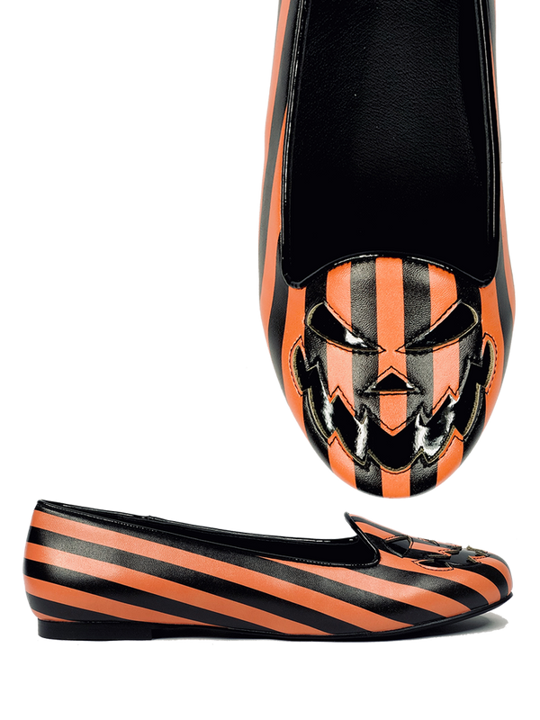 NEW!- Scary Jack Round Toe Flat (Orange & Black Stripes) ALMOST GONE!
