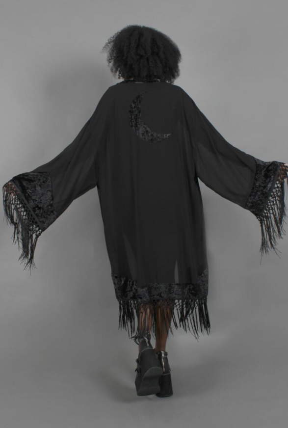 RESTOCKED! Moon Child Oversized Fringe Duster w/ Crescent Moon Detail