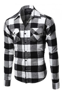 Flannel Black and White Long Sleeve Shirt