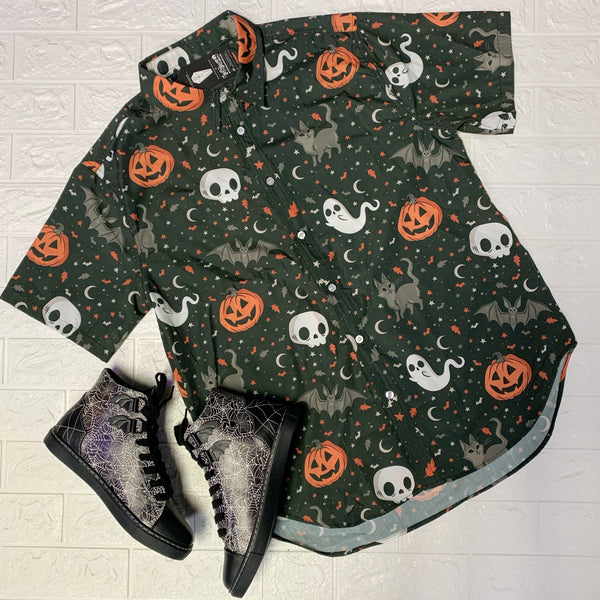 Trick or Treat Unisex Button Up Shirt