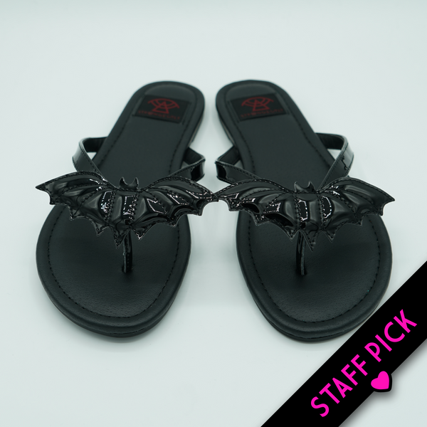 Batty Betty Sandal (Black Patent) -STRANGE CVLT