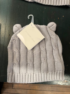 Elegant Baby Cable Hat With Ears (Gray)